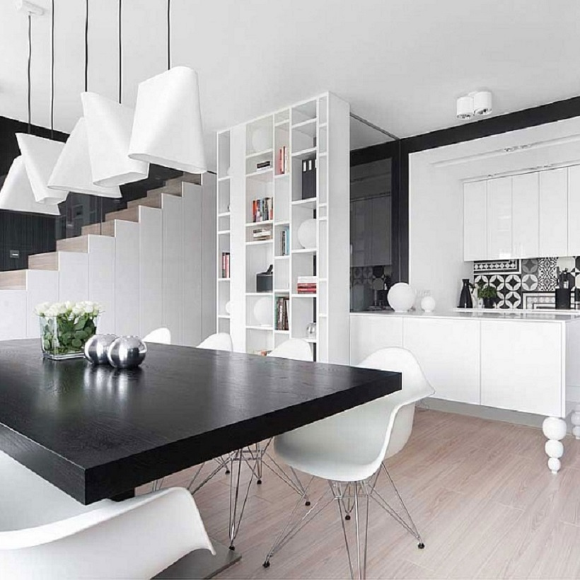Black and white kitchen as a home trend example.