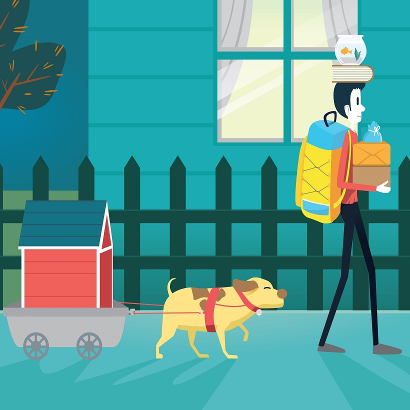 Animated man and dog living in Austin, Texas
