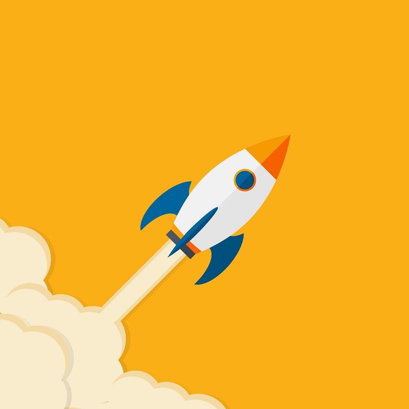 Animated rocket shooting off