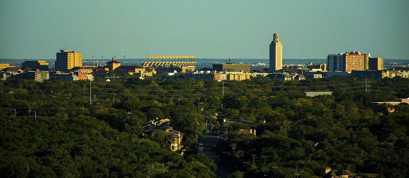 View of The University of Texas and trees from Central Austin