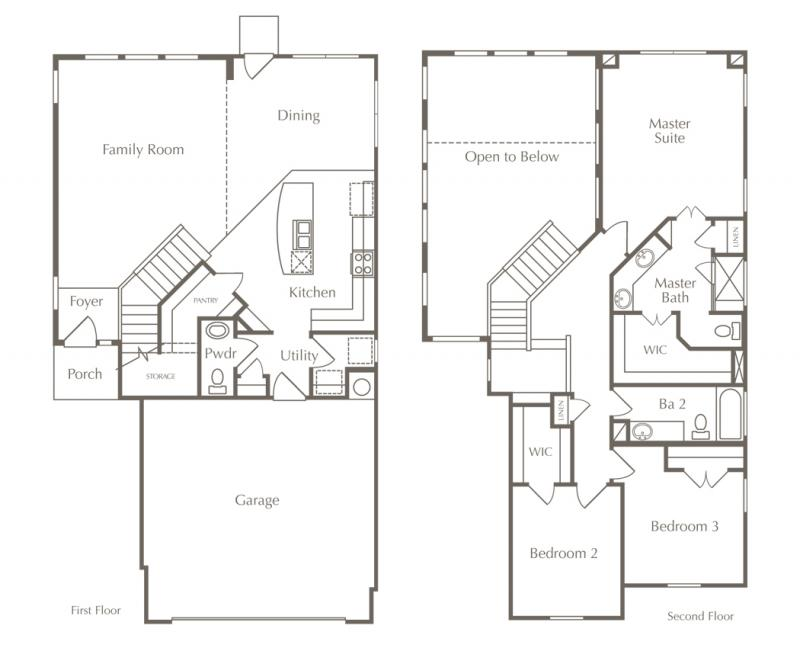 A different layout of a two-story home floor plan in Austin, Texas.