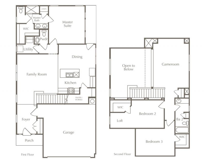 A Two Story Home Floor Plan In Austin Texas