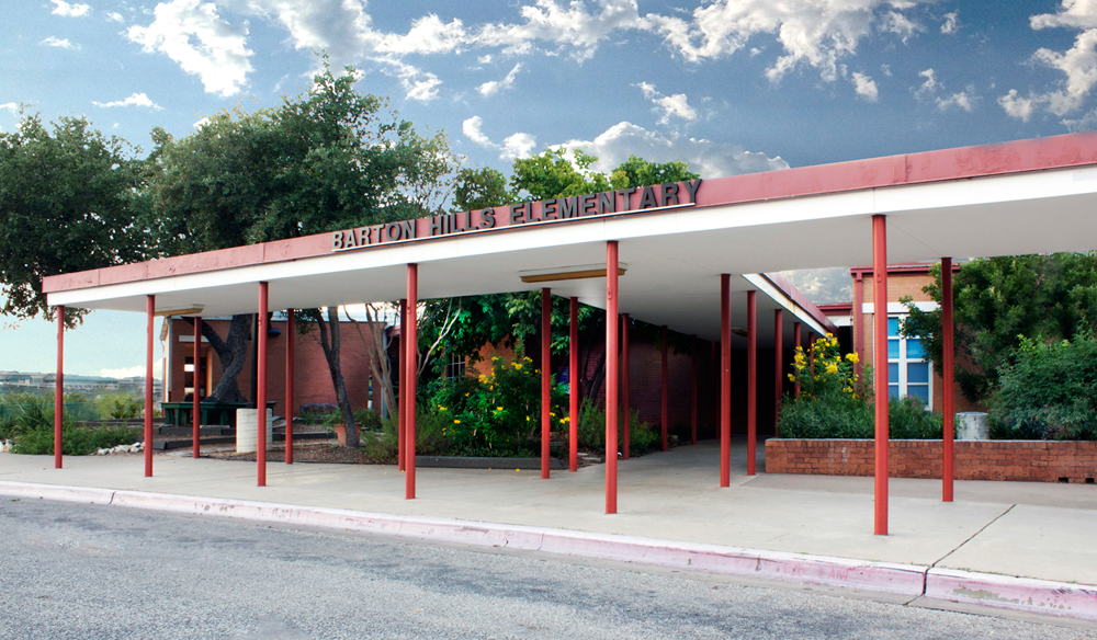 : Front entrance of one of the best schools in Austin, Texas, Barton Hills Elementary