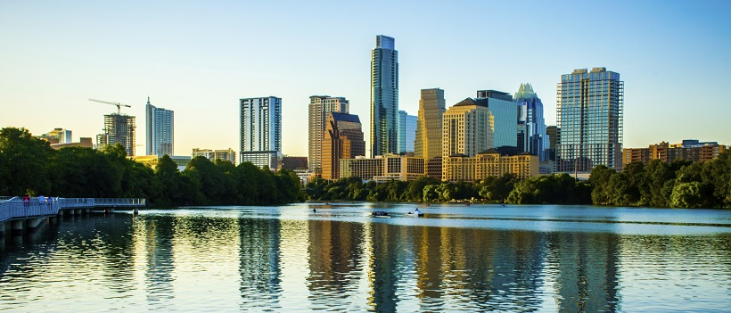Summer skyline view of city of Austin, Texas and Lady Bird Lake
