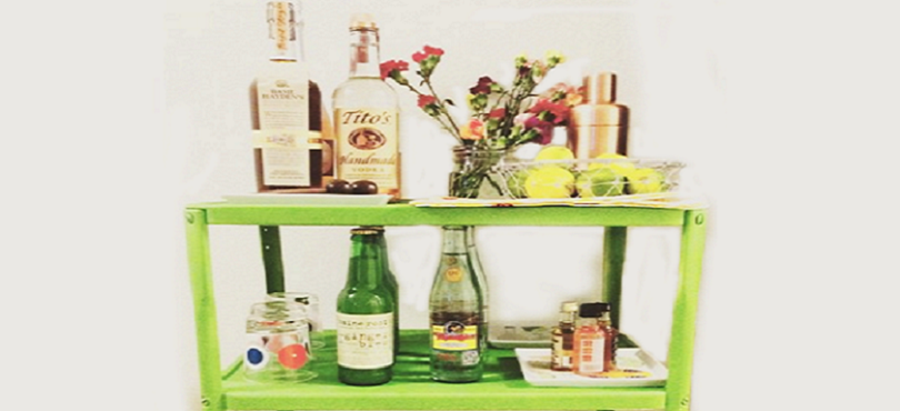 Bar cart at a housewarming party