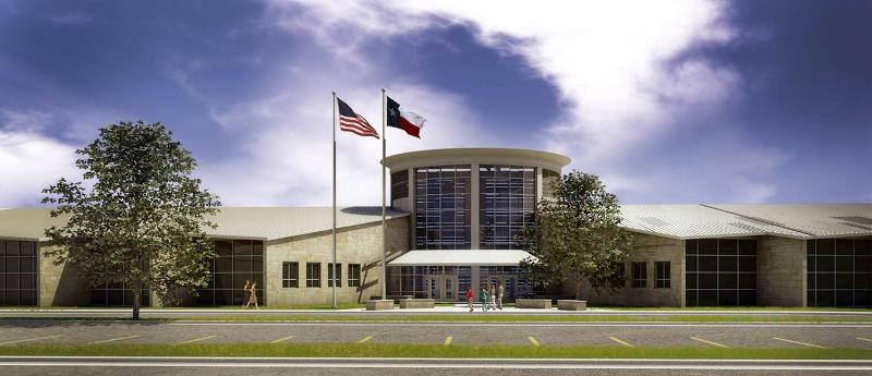 New front entrance of one of the best schools in Lake Travis, Lake Travis Middle School