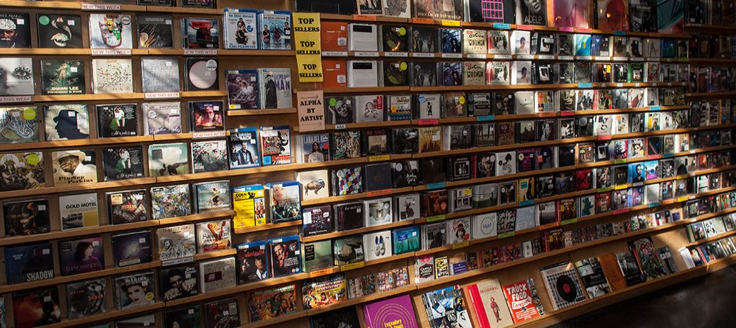 Wall of records at the local Austin business, Waterloo Records.