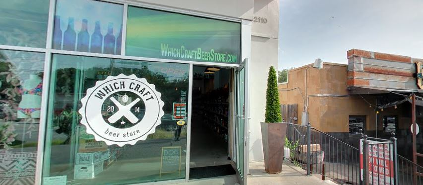 Exterior of one of the local Austin businesses, WhichCraft Beer Store.
