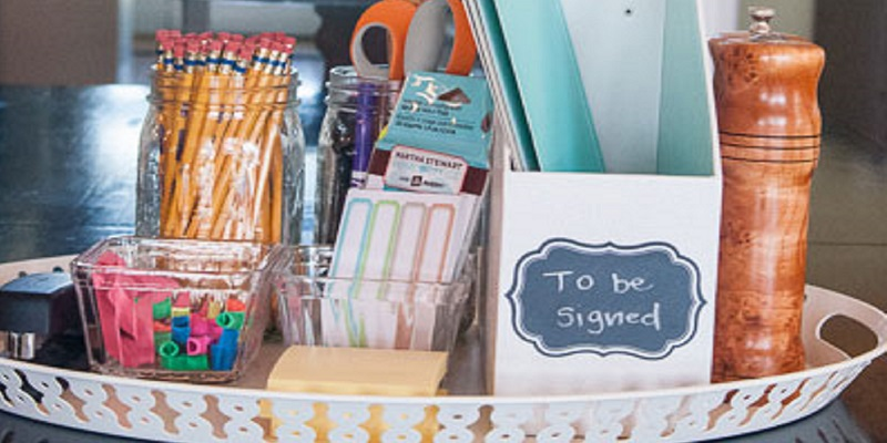 A homework station with school supplies on a tray for back-to-school season.