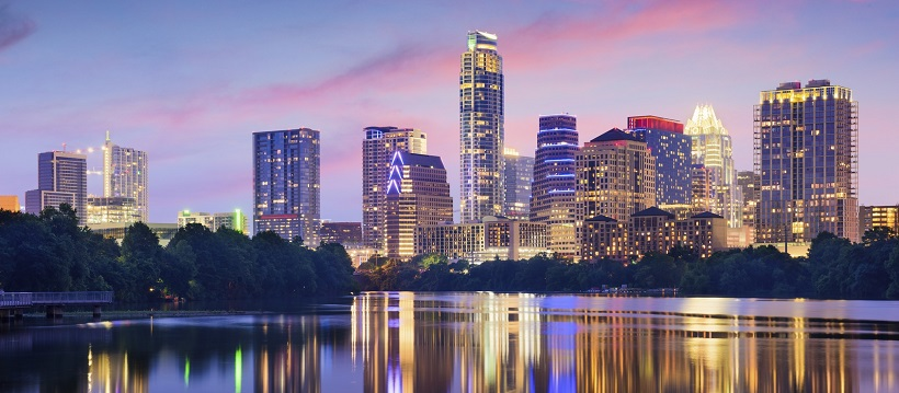 Austin skyline of downtown at sunset.