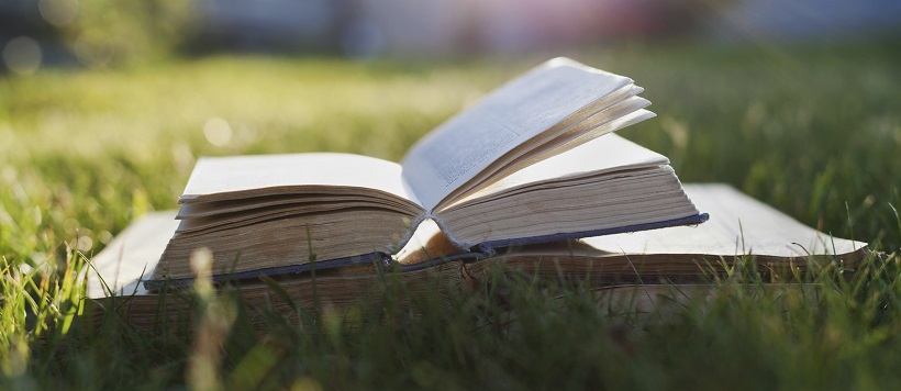 Books open on grass as example of how Austinites love to read.