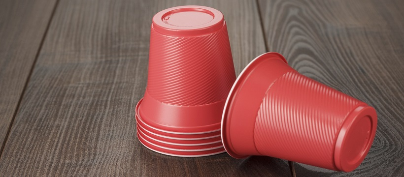 Red solo cup stack for a game-day party at home.