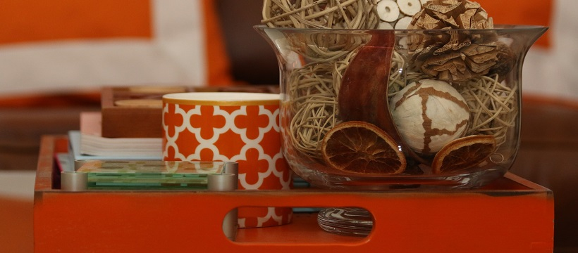 Orange try with cup and other autumn accents.