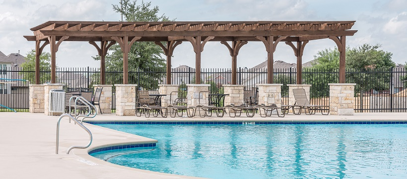 A community pool as a feature for a new home checklist