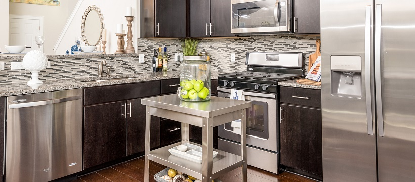 Stainless steel kitchen as a new home feature in Austin, Texas