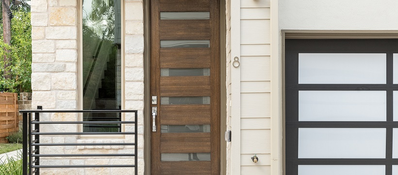 Front door and exterior of a new home in Austin, Texas