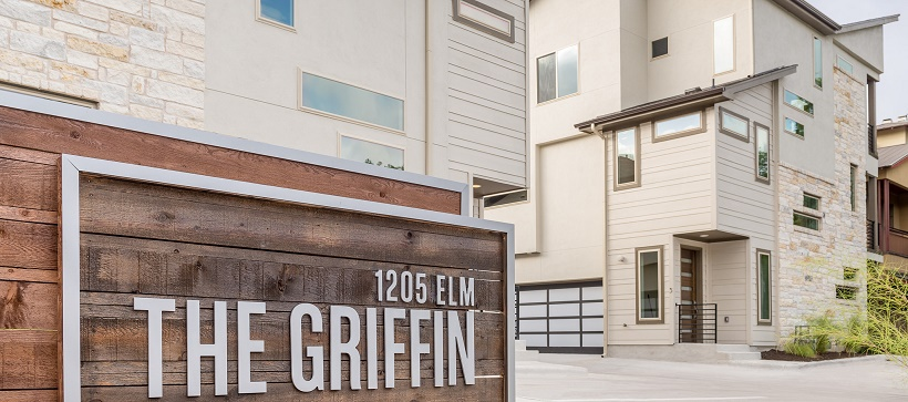 Front entrance of a downtown Austin living option, The Griffin