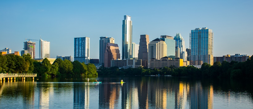 View of downtown Austin, Texas over Town Lake