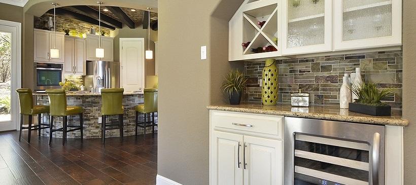 Bar area near kitchen in a new Austin home