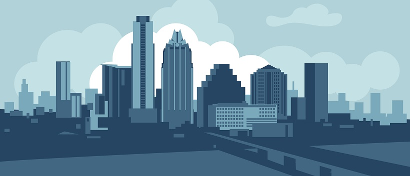Vector image of the downtown Austin skyline