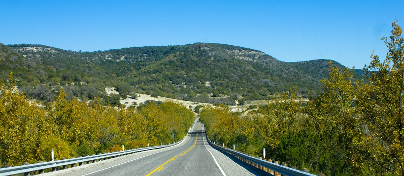 Hill Country view down a highway in Austin, Texas