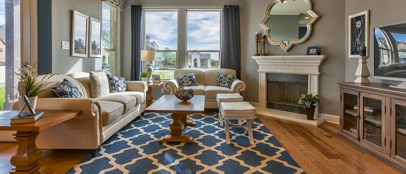 Light streaming through window into contemporary living room with patterned blue and white rug.