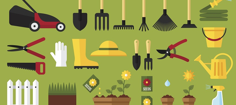 Vector image with green background and various gardening tools representing a Texas landscaping guide.