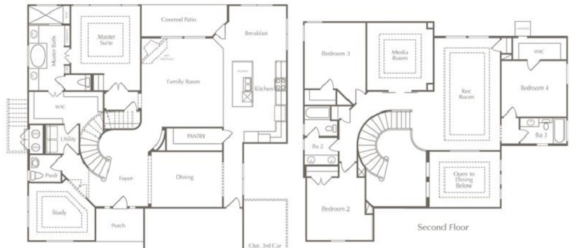 The drawing of the Lantana floor plan which is a part of Cedar Park real estate.