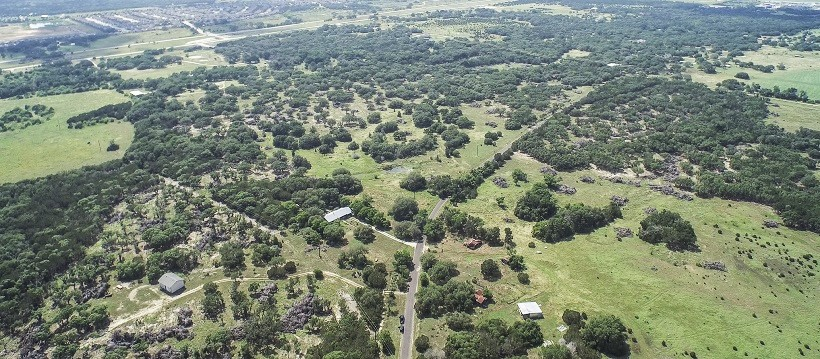 Bird's eye view of Cedar Park real estate and Hill Country.