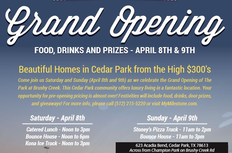 Cedar Park real estate flyer for grand opening with details about food vendors and schedules.