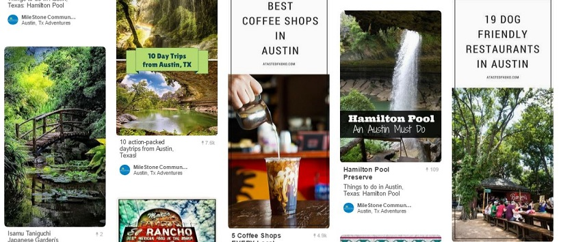 Pinterest pins of local Austin, Texas, places.
