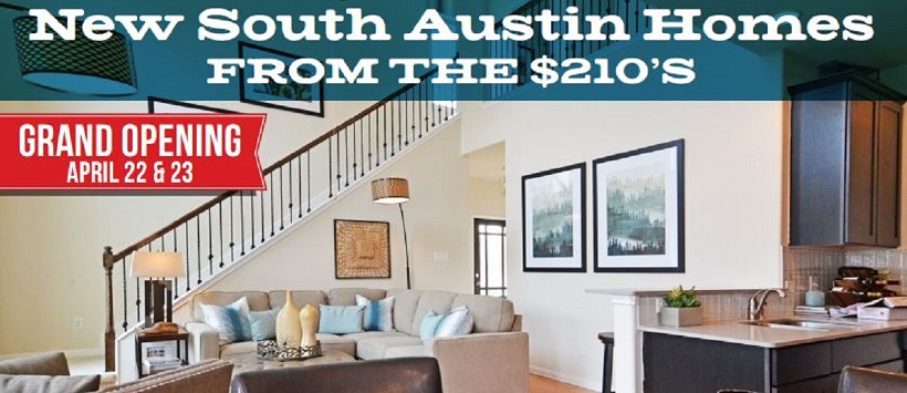 Smithfield image of living room for flyer reading 'New South Austin Homes From the $210's' and 'Grand Opening April 22 & 23'.