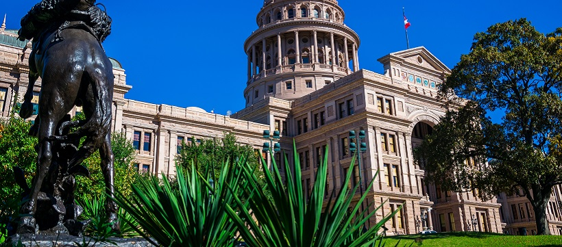 Close up of the Texas State Capitol and outdoor plants and statue.