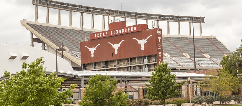 View of one side of The University of Texas Longhorn's football stadium.