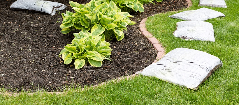 Dog-friendly landscaping with mulch bags around a garden section.
