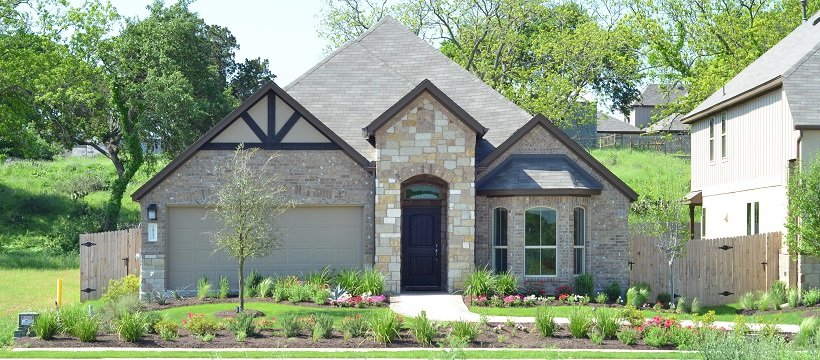 Front exterior of one of the south Austin homes for sale at The Hills of Bear Creek.
