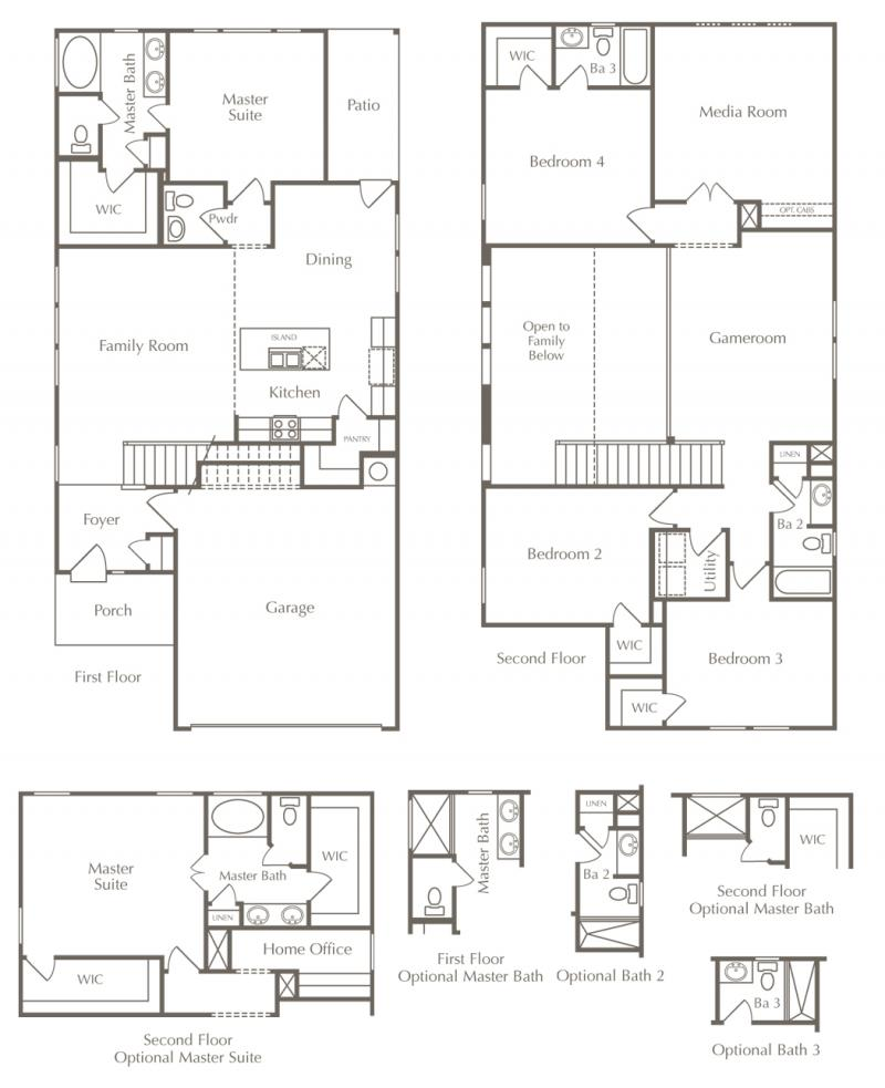 Floor plan drawing of a two-story home with additional options.