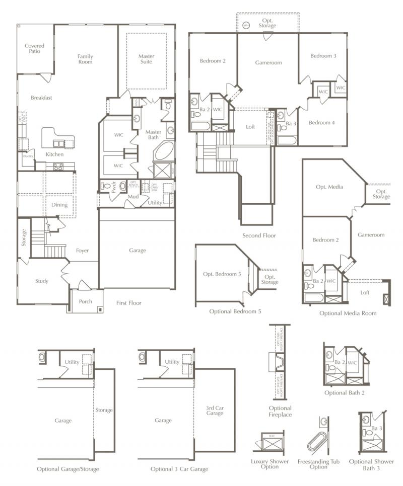 Floor plan drawing of a two-story home with many additional options.