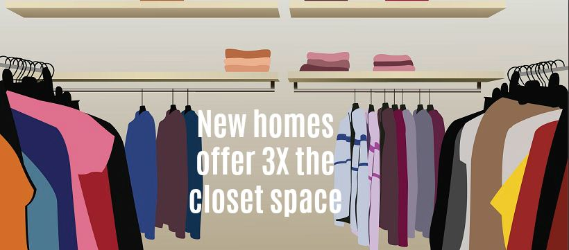 Vector image of large closet with clothes to show why buying a new construction home is better