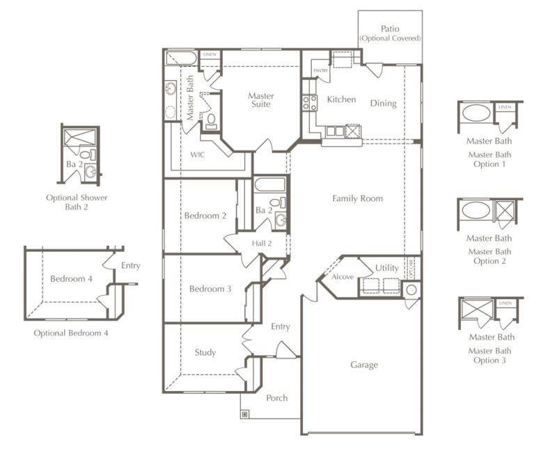 Drawing of Larkspur's Bedford floor plan as an example of affordable house prices in Austin.