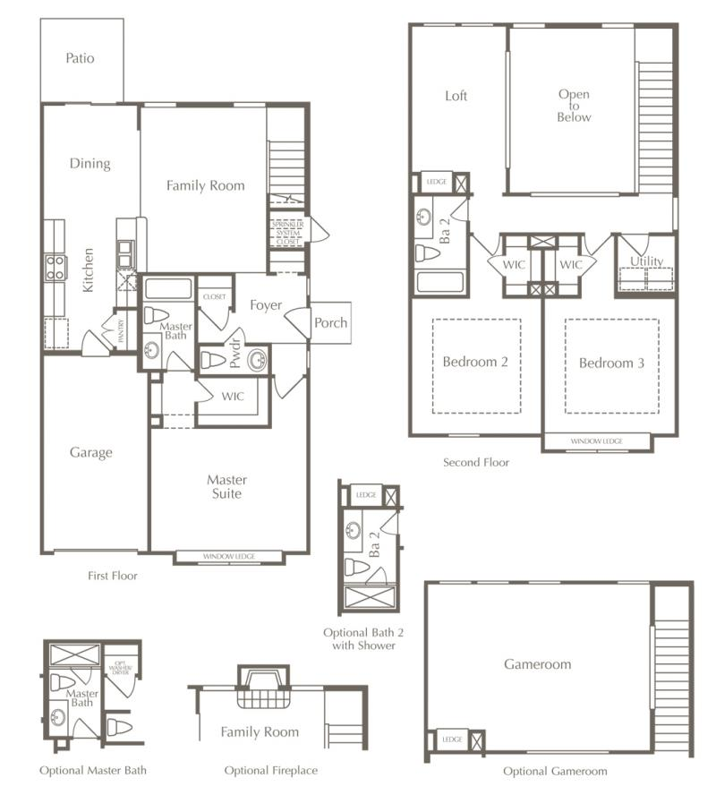 Drawing of Smithfield's Shakespeare floor plan as an example of affordable house prices in Austin.