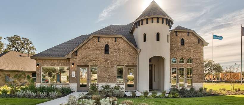 One of the two-story homes in Leander, Texas, displaying a unique front exterior.