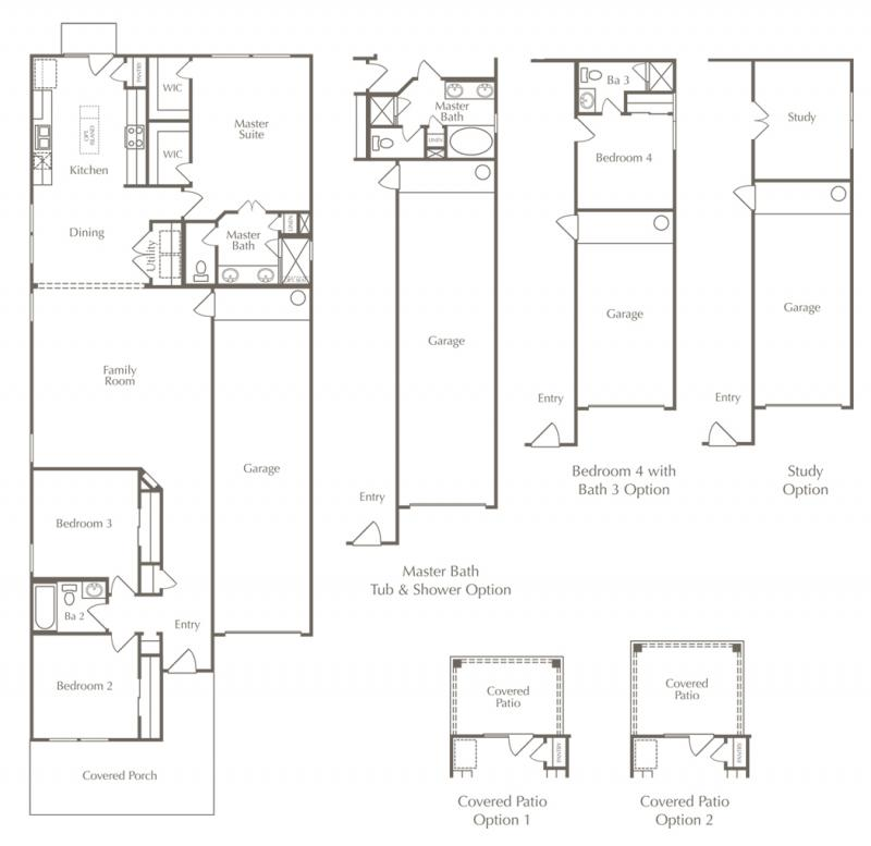 A floor plan drawing of the Bristol layout for one of the new homes for sale in Leander, Texas