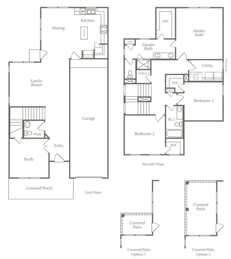A floor plan drawing of the Danbury layout for one of the new homes for sale in Leander, Texas