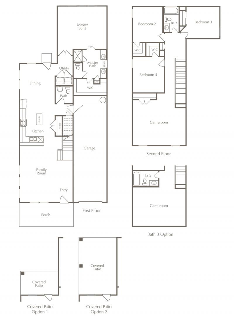 A floor plan drawing of the Carlisle layout for one of the new homes for sale in Leander, Texas