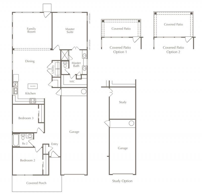 A floor plan drawing of the Jackson layout for one of the new homes for sale in Leander, Texas