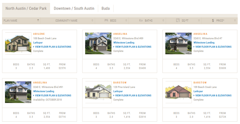 Site preview of quick delivery or inventory homes for those buying out of state.