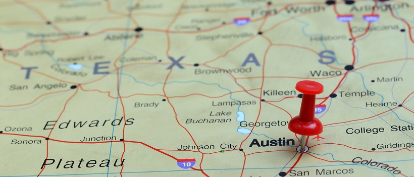 Map of Central Texas with a thumbtack on the city of Austin.