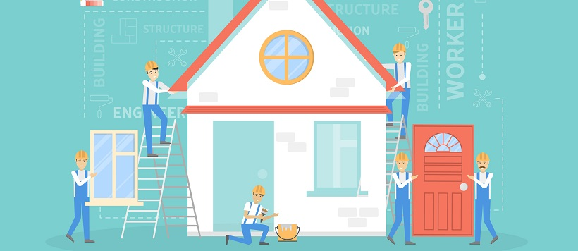Vector image of workers building a new home.