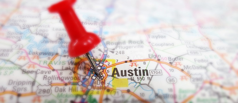 Zoomed in view of Austin metro area on a map with a red thumbtack.